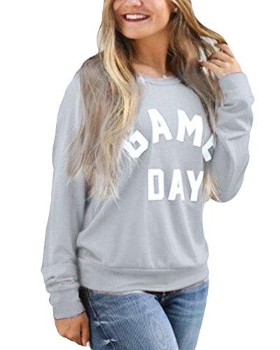 Donne Manica Lunga Felpa T-shirt Rotondo Collo Stampa Sweatshirt Pullover Camicetta Tops Grigio