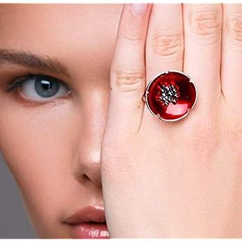 Roter Mohnring aus Sterlingsilber, hochwertiger handgefertigter Blumenschmuck von Emmanuela, Emailschmuck, Blumenring…