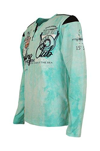Violento Poloshirt Langarmshirt V-Ausschnitt Lange Ärmel Batik Washed Patches Mint