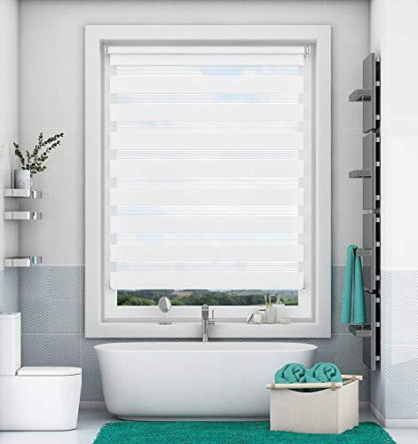 Magiea Doppelrollo Klemmfix ohne Bohren Weiß 80x120cm jalousien Fenster ohne Bohren Duo Rollo mit Klämmträgern Sicht und Sonnenschutz für Fenster und Türen