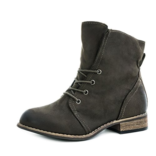 Stylische Ankle Worker Boots Schnür Stiefeletten Stiefel in hochwertiger Lederoptik Grün Wildlederoptik