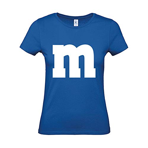 Shirt M&M Gruppen Kostüm Karneval Fasching Verkleidung Party JGA Frauen Royalblau S ()