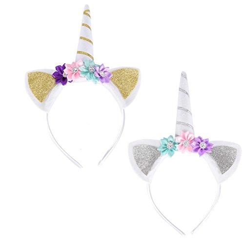 (1PCS Mädchen Einhorn Horn Kopfband mit Blumen für Einhorn Cosplay Kostüm Party von Gastgeschenken toyzhijia)