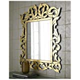 Venetian ImageDecorative Wall Mirror For Living Room Entrance Makeup Bathroom | Mirror Glass Stylish Frame | Silver Small