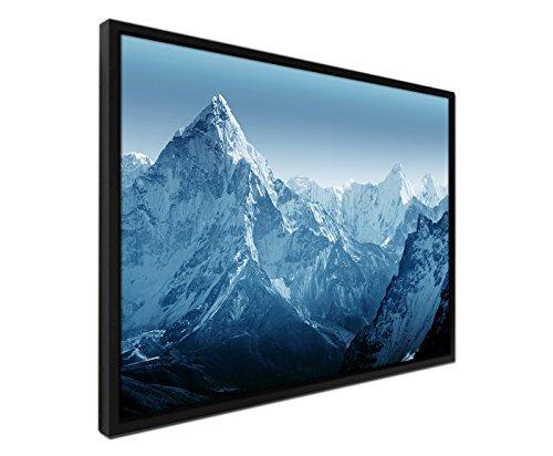 105-x-75-cm-couleur-bleu-petrole-sur-toile-filtre-ajourages-cadre-noir-mount-everest-nepal