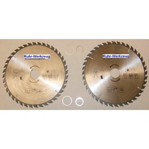 Spar-Set: 2 Stück Kreissägeblatt Kreissägeblätter 210 mm, 40 Zähne Hartmetall bestückt nachschärfbar. Bohrung 30 mm inkl. Reduzierring auf 16, 20, 22 und 25 mm. Universal Sägeblatt für Handkreissäge, Kappsäge, Tischkreissäge.