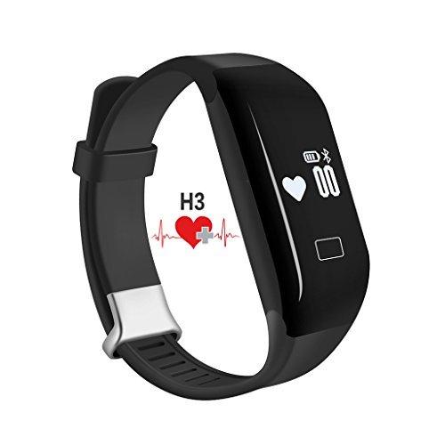 PADGENE® Pulsuhr Fitnessarmband H3 Aktivitätstracker Uhrenarmband mit Herzfrequenzüberwachung Schrittzähler, Pedometer, Sedentary / Anruf / Nachricht Erinnerung, Schlaf-Tracker Synchronisierung mit Android 4.3 oder höher und iPhone 6S / 6 / 5S / 4S Smartphone (Nicht medizinische Ausstattung) (Schwarz)