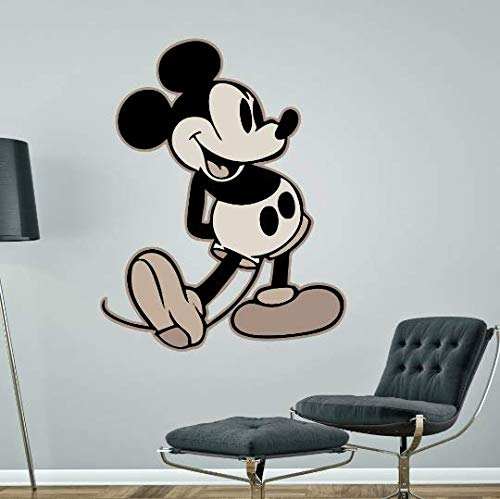 Kapowboom Graphics MICKEY MOUSE WALL STICKER Black & White Retro Disney bedroom decal art (Medium - 100 x 78)