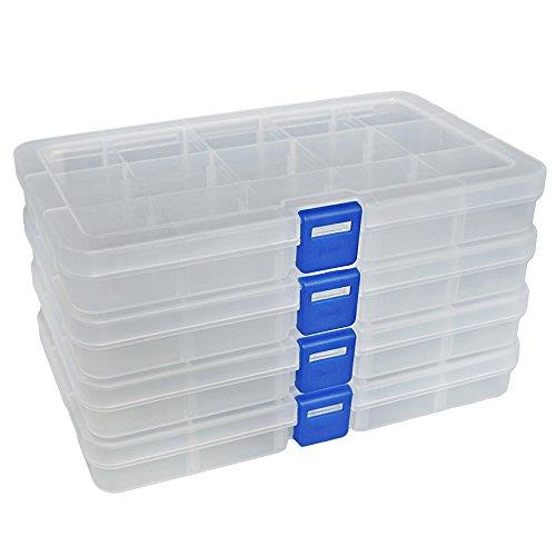 DuoFire Plastik Aufbewahrungsbox Einstellbar Fächer Sortimentskasten Schmuckschatulle Werkzeugcontainer (15 Raster X 4 Packungen, Transparent)