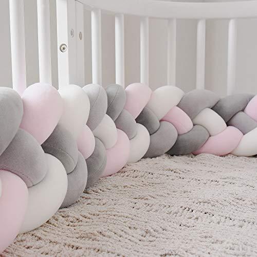 GLITZFAS Bettausstattung Kantenschutz Kopfschutz für Babybett Baby Nestchen Bettumrandung Weben Geflochtene Stoßfänger Dekoration für Krippe Kinderbett 220cm (Rosa + weiß + schwarze grau + grau)