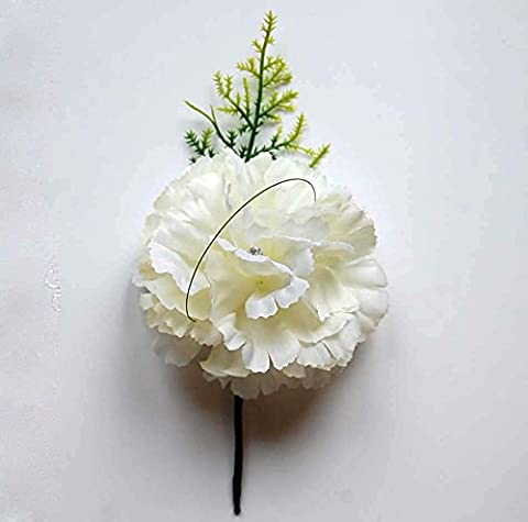 Daphne Personalised Custom Hand Made Boutonniere Buttonhole Corsage White Carnation Wedding Flowers Groom Best Man