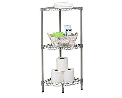 Home Basics Grey Wire Corner Shelving Unit (3-Tier) by Home Basics -