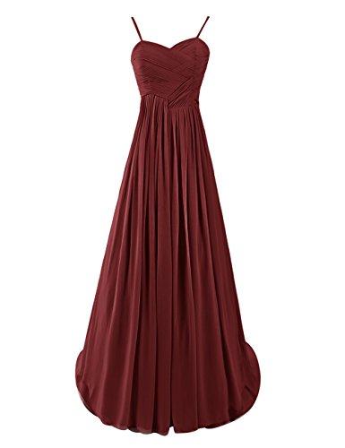 Dresstells, Robe de soirée de mariage Robe de demoiselle d'honneur Robe de cérémonie bretelles spaghetti col en coeur traîne moyenne Bordeaux