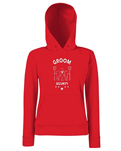 T-Shirtshock - Sweats a capuche Femme MAT0038 Groom Security Fork Maglietta Rouge