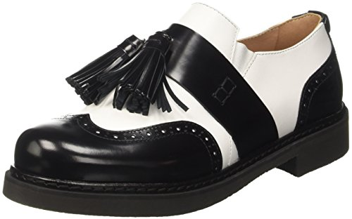 Twin-Set Cs7pga, Mocassins (loafers) femme Multicolore (Bianco Seta/Nero)