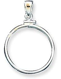 Plata de ley de 24,1 x mm 1,7 $0,25 Plain bisel moneda colgante - JewelryWeb