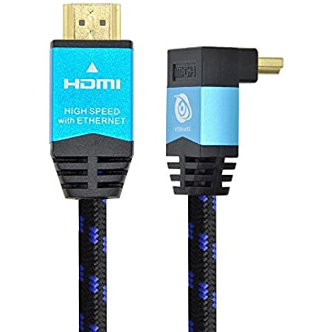 Ultra HDTV Premium – 3m Cable HDMI 2.0b, 1x Adaptador de 90 grados | 4K/60Hz (sin interferencias), HDR, 3D, ARC, Ethernet