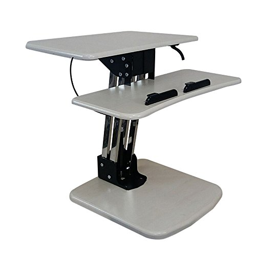 Schreibtische HAIZHEN Großer Stehpult, extra breiter, höhenverstellbarer Sit-Stand Tischkonverter für Doppelmonitore, Laptop, Desktop & Tastatur, vormontierter Ergonomischer Riser, Klapptisch