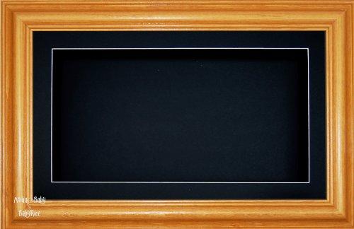 Anika 7 x 13/13 x 18 cm-Cadre en bois avec finition Pin miel Passe-Partout noir/fond &Verre 35,5 x 20,3 cm