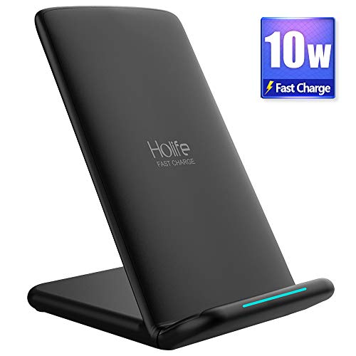 Holife Fast Wireless Charger, [10W Qi Certified] Wireless Charger Stand for Samsung Galaxy S9 S9 Plus S8 S8 Plus Note 8 S7 Edge S7 S6 Edge Plus Note 5, Standard Charge for Apple iPhone X iPhone 8 iPhone 8 Plus