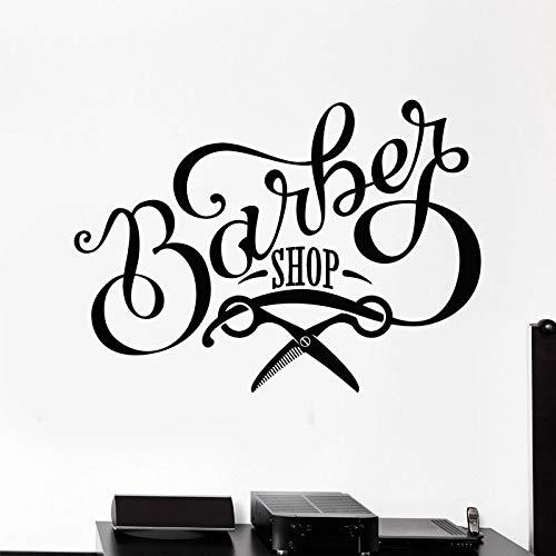 n Vinyl Wandtattoo Friseursalon Schere Schild Schönheit Friseursalon Aufkleber Wandbild Tapete Fenster Decor58 * 42 cm ()