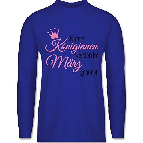 Geburtstag - Wahre Königinnen werden im März geboren - Longsleeve / langärmeliges T-Shirt für Herren Royalblau