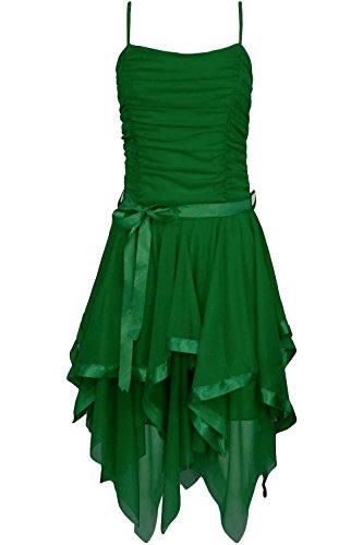 Fast Fashion Frauen Kleid Plain Zickzack Chiffon Prom Party Saum Mit Rüschen Gürtel Tie (Tinkerbell Kostüm Halloween)