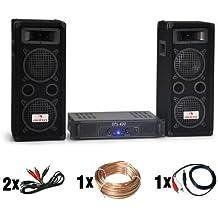 """DJ set """"DJ-24"""" impianto audio completo (2 casse AUNA diffusori 1200 Watt totali, 1 amplificatore SKYTEC finale di potenza, cavi per collegamento)"""