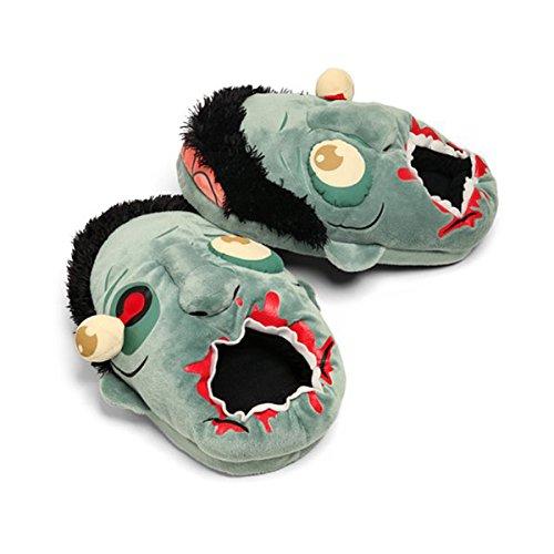 vorcool Paar Zombie Plüsch Hausschuhe Schuhe–Blau–Einheitsgröße