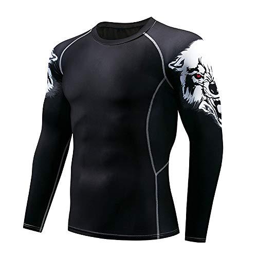 Herren Pullover Schwarz Langarm Funktionsshirt Cool Kompressionsshirt Fitness Kompressions T-Shirt elastische Yoga…