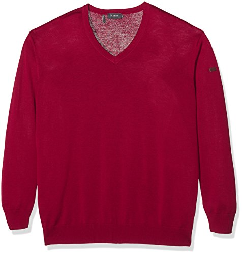 Maerz Merinowolle Pull-over Col V Manches longues Homme Rouge (Vinaceous 495)