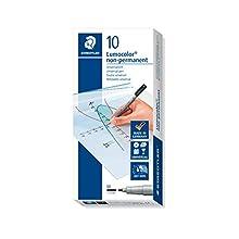 Staedtler 315-9 Lumocolor Universal Non Permanent Medium Pens - Black, Pack of 10