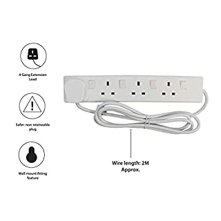 Pifco 4 Way UK 3Pin Plug 13A 250V Extension Lead with 2 Metre High-Quality Cable and Single Plug Switches - Neon Power On Indicator -  White