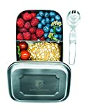 Alpin Loacker 1000ml Edelstahl Lunchbox + Göffel | lebensmittelechte Vesperdose für Erwachsene und Kinder | Brotdose + 350ml Edelstahl Thermosflasche