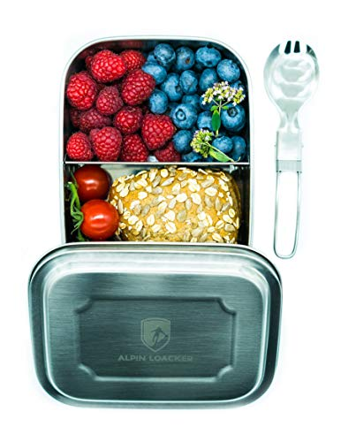 ALPIN LOACKER 1000ml Edelstahl Lunchbox + Göffel   lebensmittelechte Vesperdose für Erwachsene und Kinder   Brotdose + 350ml Edelstahl Thermosflasche (2 Fach unterteilt ohne 350ml Thermosflache)