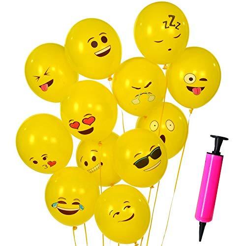 SWZY 100PCS Emoji Globos+1Tubo Inflable, Smiley Face de Emoji Lindo látex de expresiónPartido Globos de Fiesta para la Fiesta