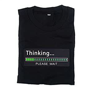 Animiertes Thinking… Please wait T-Shirt mit animiertem LED Panel und Fortschrittsbalken - Größe M