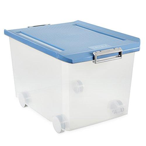 Plástico traslúcida/tapa azul. Libre BPA. Apilable. Cierres seguros, estancos a la lluvia.