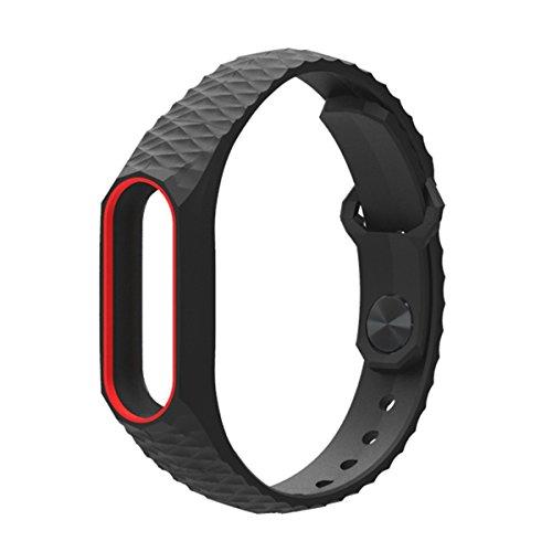 Pulsera Mi Band 2,Correa Mi Band 2 La Smart Band 2 de Xiaomi 3D de Moda Smart Watch Strap Correa para Miband2(Sin Rastreador de Actividad)(Rojo Negro)