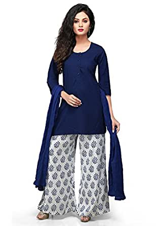 Vastra Vinod Women's Cotton Kurti (vtas230xs_Blue_X-Small)