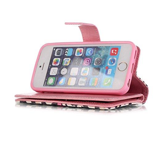 Coque Etui pour iPhone 5C, iPhone 5C Portefeuille Cuir Coque Housse, iPhone 5C PU Leather Case Wallet Cover Flip Coque, Cozy Hut Protecteur Housse de Protection Étui Coque Flip PU Cuir Folio portefeui Bows, modèle