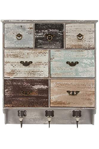 elbmöbel Wandregal mit Haken und 7 Schubladen im Landhaus-Stil Shabby Chic aus Holz in braun grau