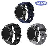 TOPsic Garmin Fenix 3 Armband - Silikon Sportarmband Uhr Band Strap Ersatzarmband Uhrenarmband mit Werkzeug für Garmin Fenix 3 / Fenix 3 HR GPS Smart Watch (grau + schwarz + nachtblau)