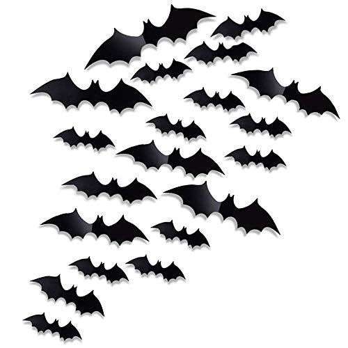 Antner 60pcs Halloween Wand Aufkleber Scary Fledermäuse Fenster-Deko-Sticker Fledermäuse für Halloween Eve Party Supplies Home Decor, 4Größen