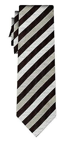 cravate soie rayée stripe 1cm black white silver