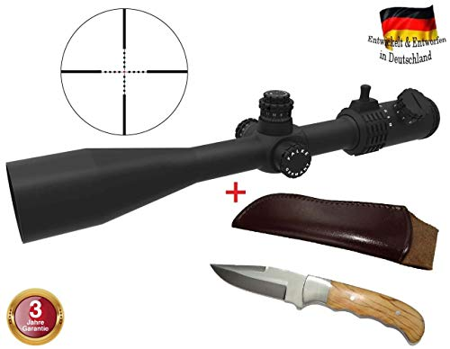FALKE Zielfernrohr 8,5-25x50 TAC mit Mil Dot Absehen, beleuchtet, verbesserte Modell 2018, Schussfest für alle Kaliber + Jagdmesser