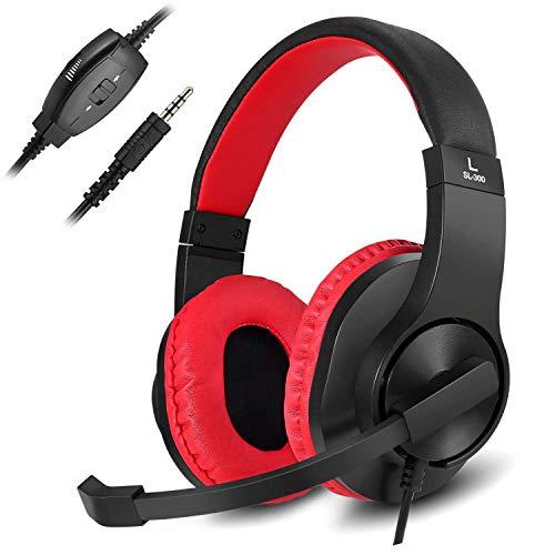 Gaming Headset für PS4 PC Xbox One, DIWUER Audio Stereo Bass 3,5 mm Over-Ear Kopfhörer mit Mikrofon Noise Isolation für Laptop Mac iPad Mobile Phone (Schwarz Rot )