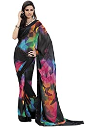 Roop Kashish Roop Kashish Georgette Multicolored Saree With Embroidered Border Saree (4105_Multicolor)