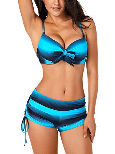 adebekleidung Zweiteilig Schwimmanzug Einteiler Damen Blau XXL ()