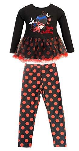 Miraculous ladybug e cat noir - completo set 2 pz maglia mglietta a maniche lunghe con tulle e leggings a pois - bambina - 4641hr [nero/rosso - 5 anni - 110 cm]